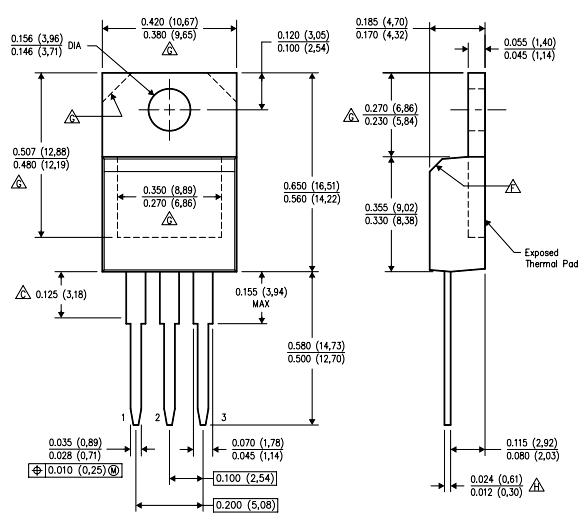 LM7905 Dimensions Size