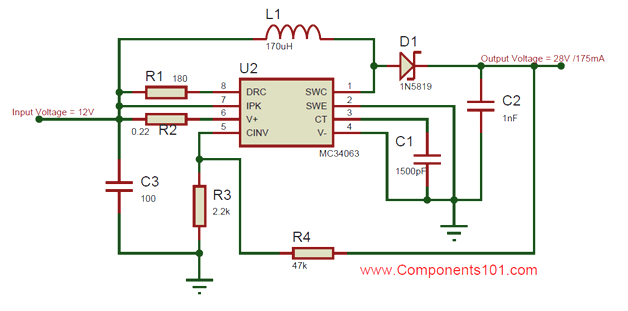 mc34063a dc dc converter ic pinout, equivalent, circuit \u0026 datasheetmc34063 boost converter circuit mc34063 buck converter circuit diagram in the above two circuits