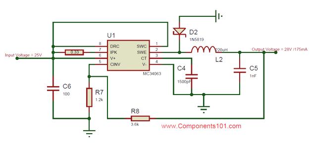 mc34063a dc dc converter ic pinout, equivalent, circuit \u0026 datasheet