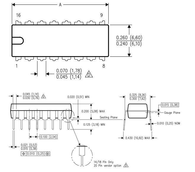 MCP3008 IC Dimensions
