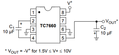 Negative Voltage Converter using TC7660