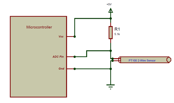 PT100 Sensor with Microcontroller: Circuit Diagram