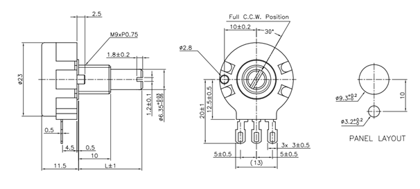 10k potentiometer 6 pin diagram