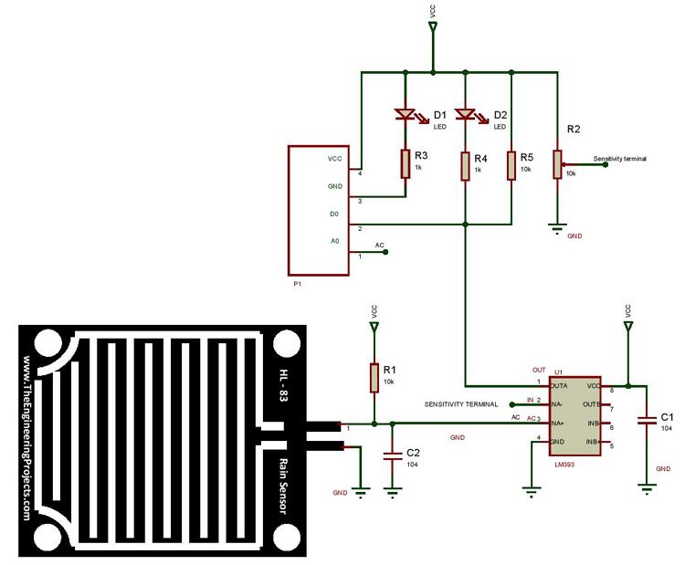 Raindrop Sensor Module Circuit Diagram