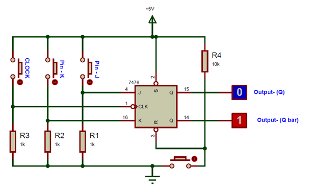 SN7476 JK Flip Flop Connection Circuit