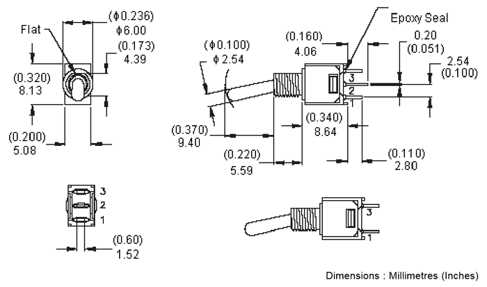 SPDT Toggle Switch 2D-model