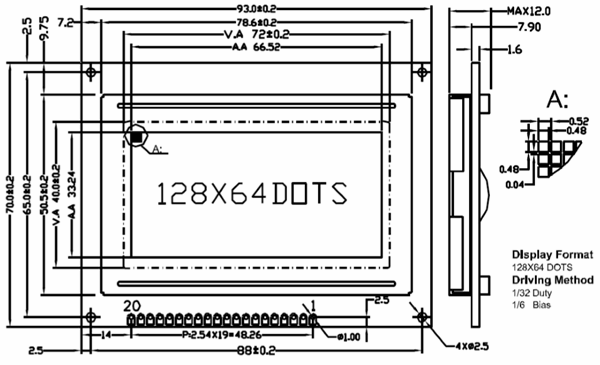 ST7290 Graphical LCD 2D-model