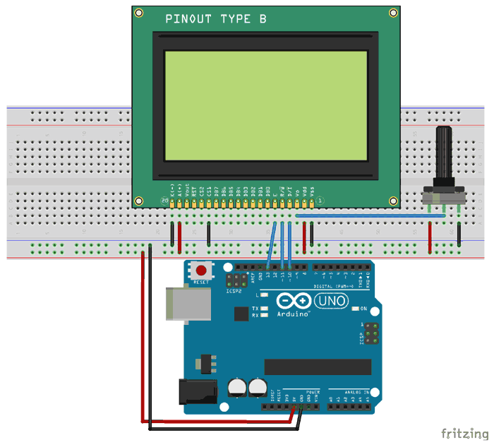 ST7290 Graphical LCD with Arduino
