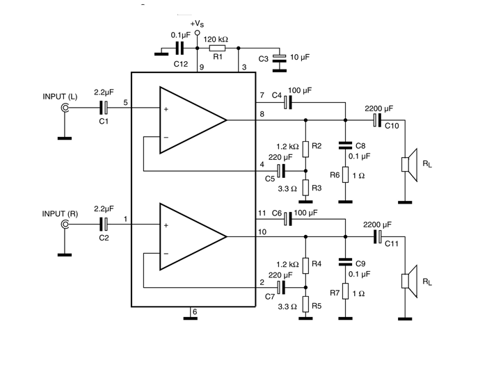 TDA2005 Stereo Amplifier Circuit Diagram