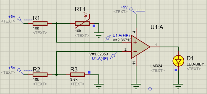 Sense temperature and control a system in action using LM324