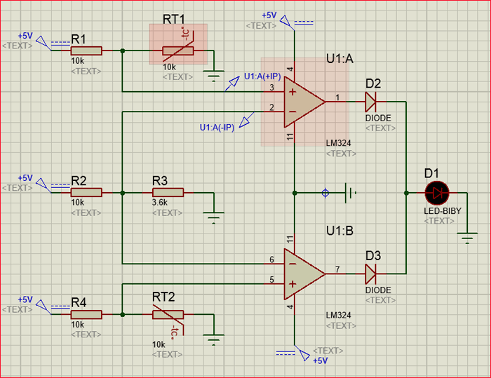 Sense temperature and control a system using LM324 IC