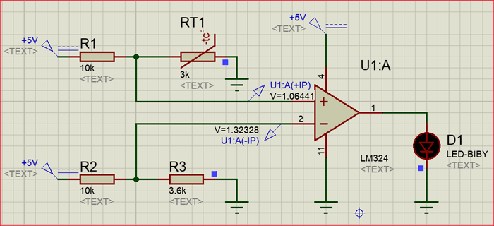 Sense temperature and control a system using LM324