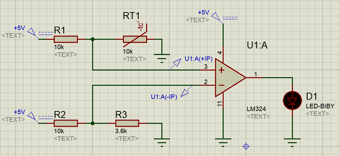 Sense temperature and control a system working using LM324