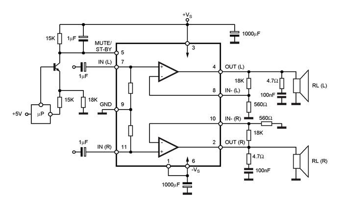 TDA7265 Audio Amplifier Circuit Diagram