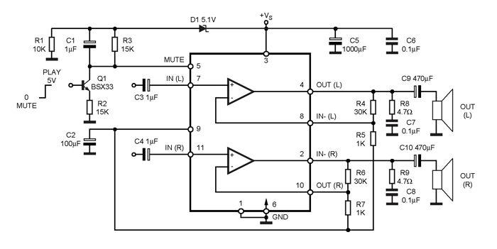 tda7265 stereo audio amplifier ic pinout  features  u0026 datasheet
