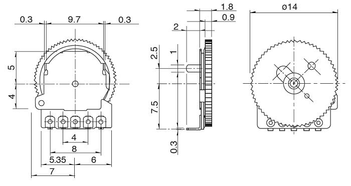 thumbwheel potentiometer pinout, features, details & datasheet amp wiring diagram 5 pin potentiometer thumbwheel potentiometer pinout components101