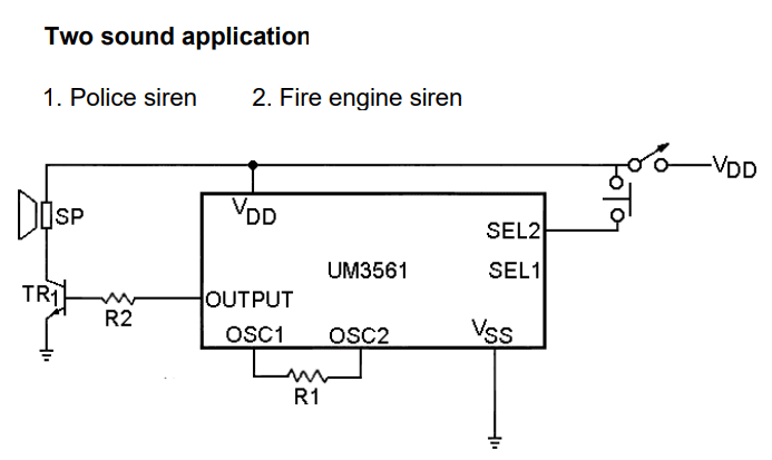 Two Sound Generation Application of UM3561