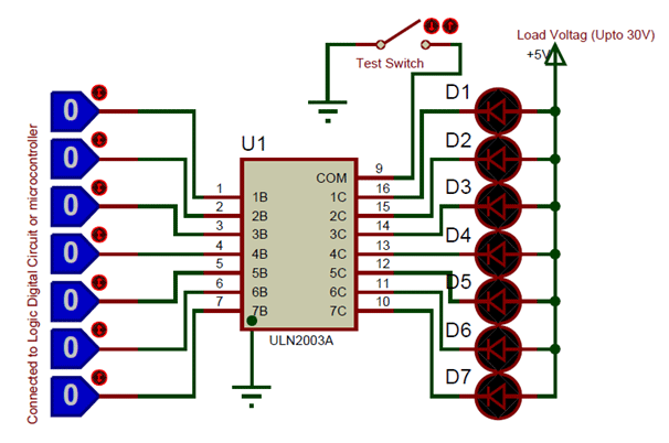 ic uln2003 pin diagram features equivalents datasheet rh components101 com Philosophy Logic Diagrams Logic Diagram Army