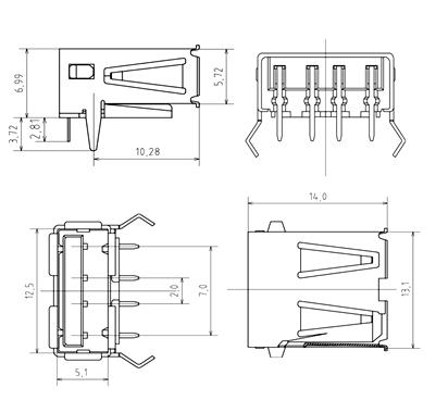 USB-A Jack Dimensions