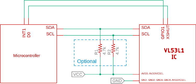 VL53L1 Interfacing Diagram