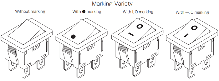 Various Markings On Rocker Switch Indicating ON-OFF states