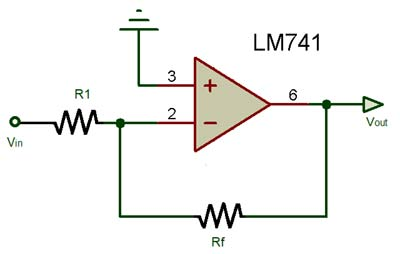 lm741 op amp ic pinout, characteristics, equivalent ic \u0026 datasheetop amp as inverting amplifier