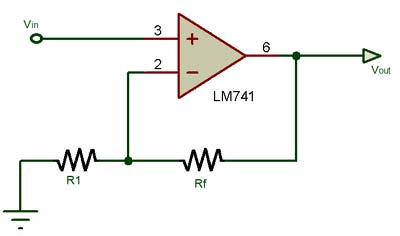 Op-amp as non-inverting amplifier